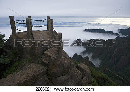 Stock Photography of Stairway on mountain, Huangshan Mountains.
