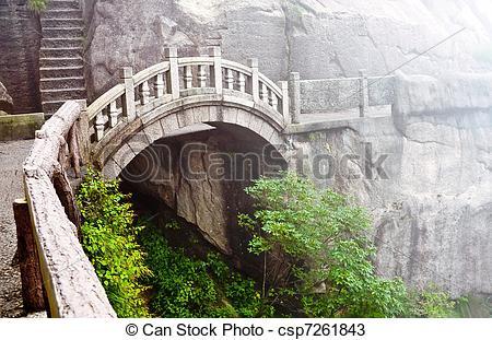 Stock Photos of Stone bridge in Huangshan mountains.