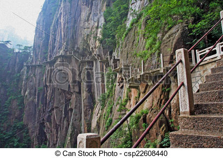 Drawing of hazardous pathway over the precipice in Huang Shan.