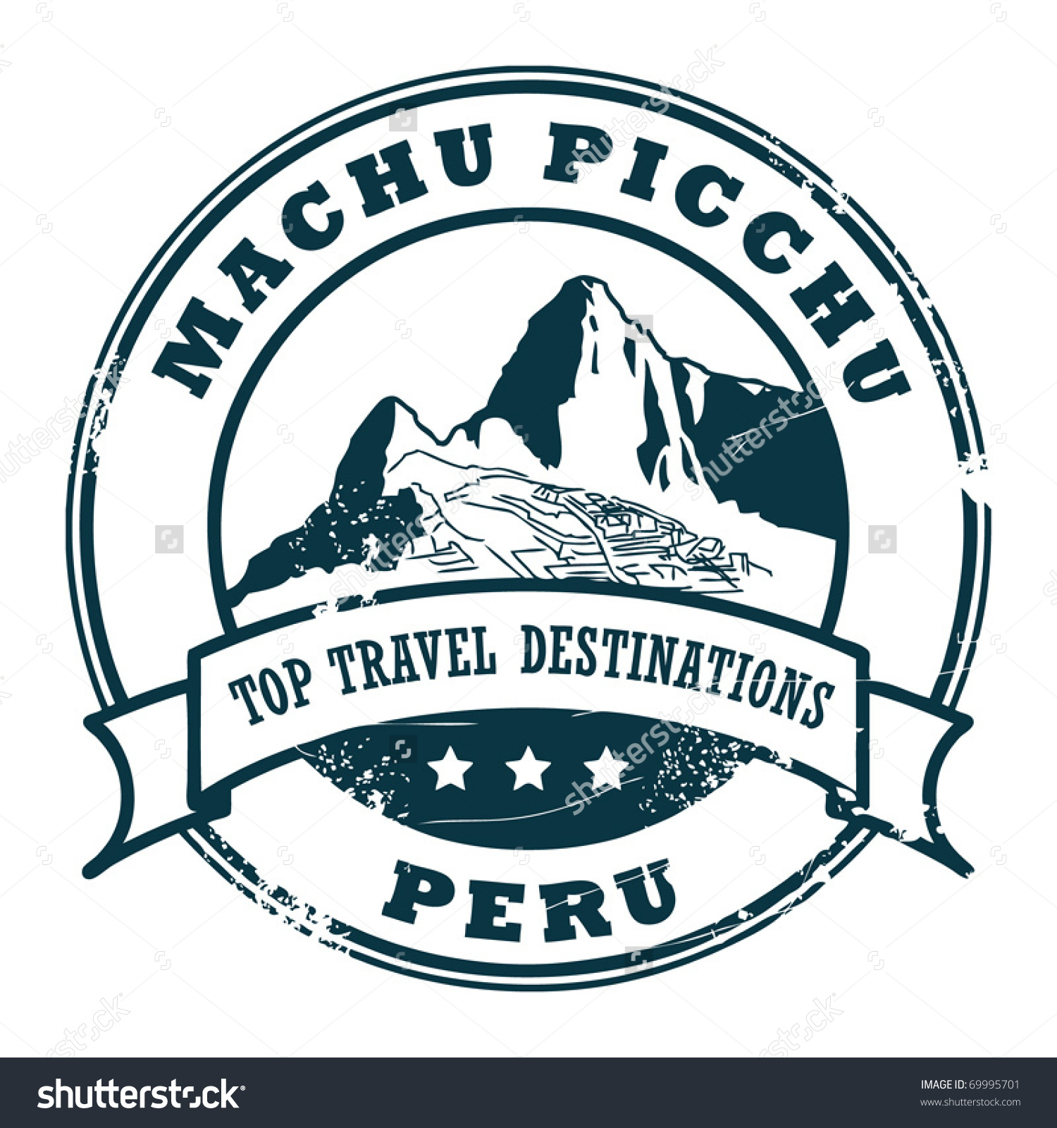 Grunge Rubber Stamp Machu Picchu Vector Stock Vector 69995701.