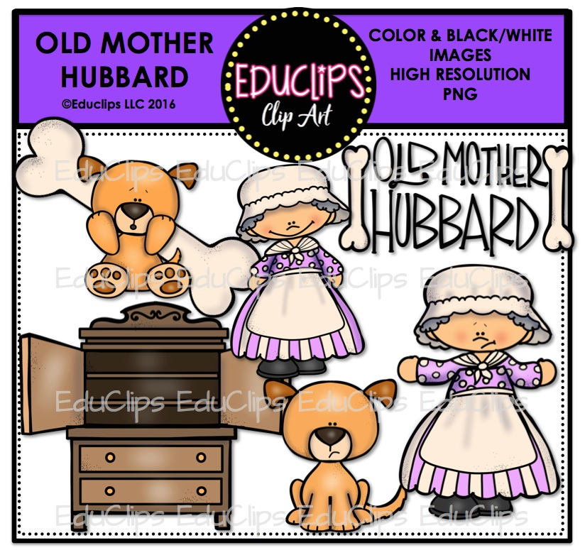 Old Mother Hubbard Nursery Rhyme Clip Art Bundle.