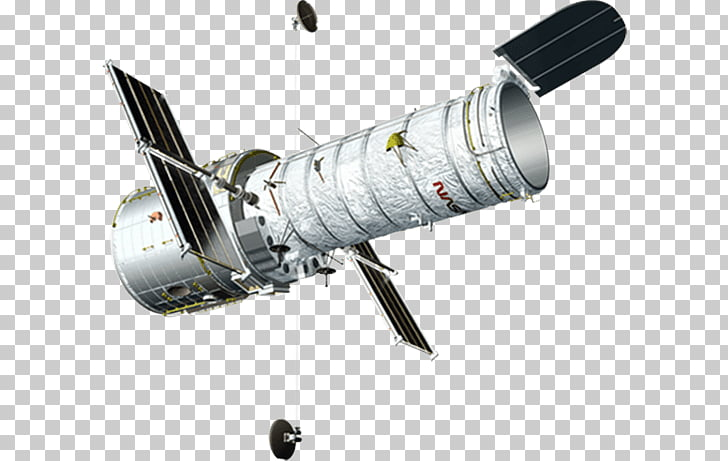 Hubble Telescope, gray and black space satellite PNG clipart.