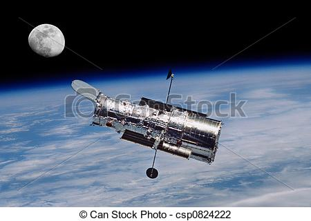 Stock Photo of Hubble Space Telescope and The Moon.