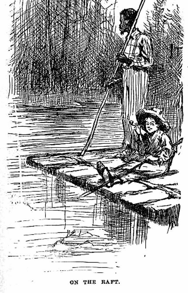 Huckleberry Finn and Jim on their raft Clip Art * Arts.