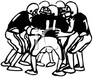 Players In a Huddle.