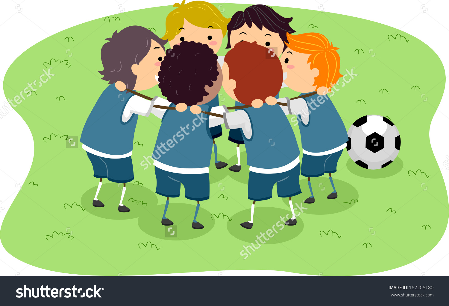 Illustration Little Boys Soccer Game Huddled Stock Vector.