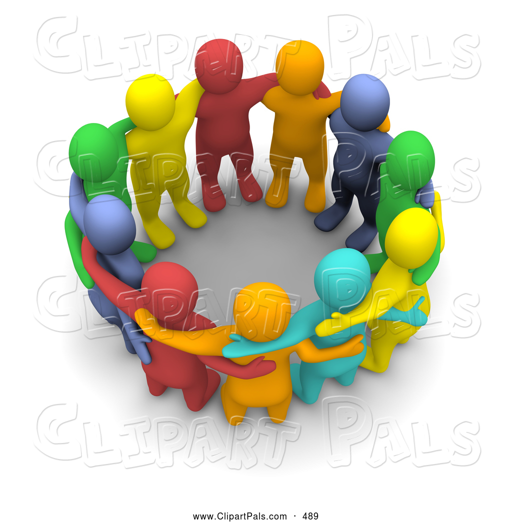 Pal Clipart of a 3d Colorful Team of People Huddled by Jiri Moucka.