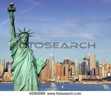 Stock Illustration of new york midtown skyline over hudson river.