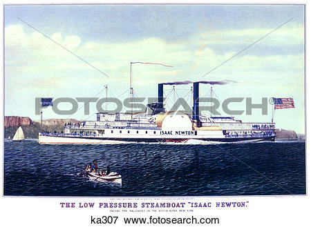 Picture of 1885 Isaac Newton Early Steamboat On The Hudson River.