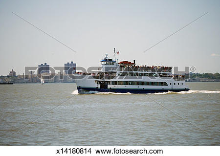 Stock Photo of Crowded ferry boat on the Hudson River, New York.