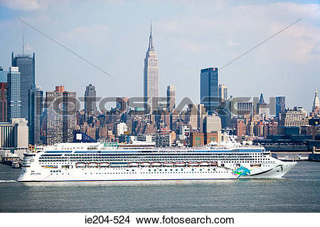 Stock Photo of Cruise ship on hudson river new york ie204.