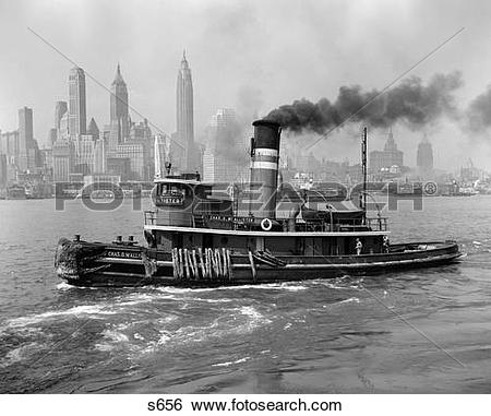 Stock Images of 1940S Tugboat On Hudson River With New York City.