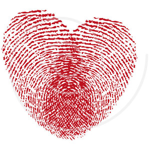 Heart Corazon Fingerprint Huella Digital Pink Finger Print.