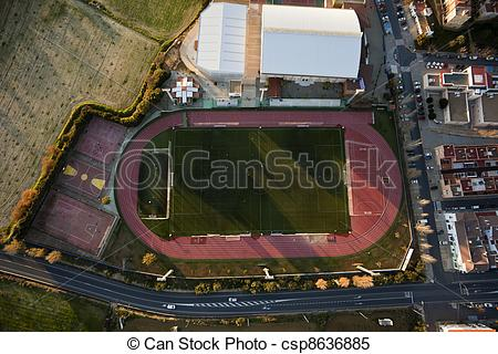 Stock Images of Aerial view of football pitch and athletics in.