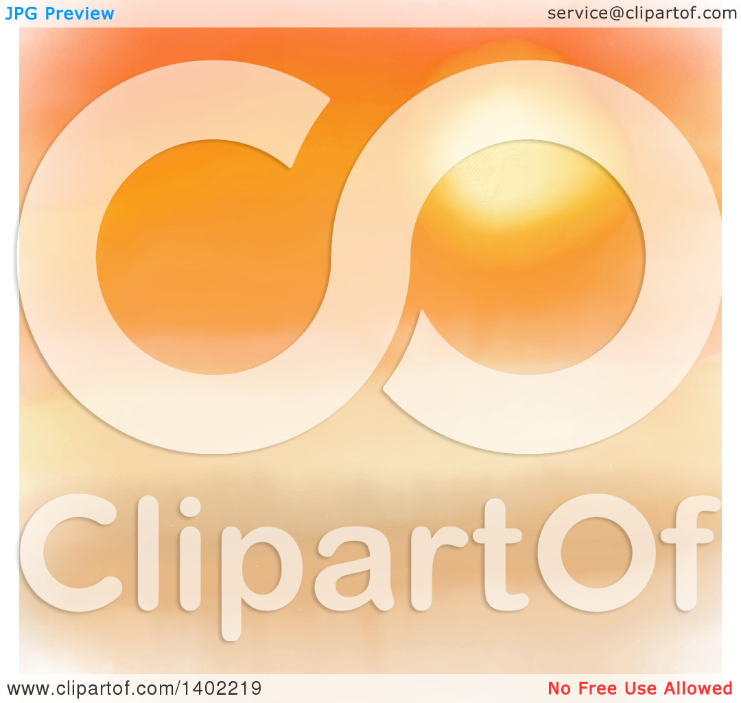 Clipart of a Watercolor Sunset in Orange Hues.