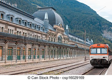 Stock Image of Abandoned railway station of Canfranc, Huesca.