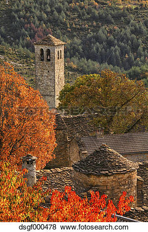 Pictures of Spain, Province of Huesca, church in mountain village.