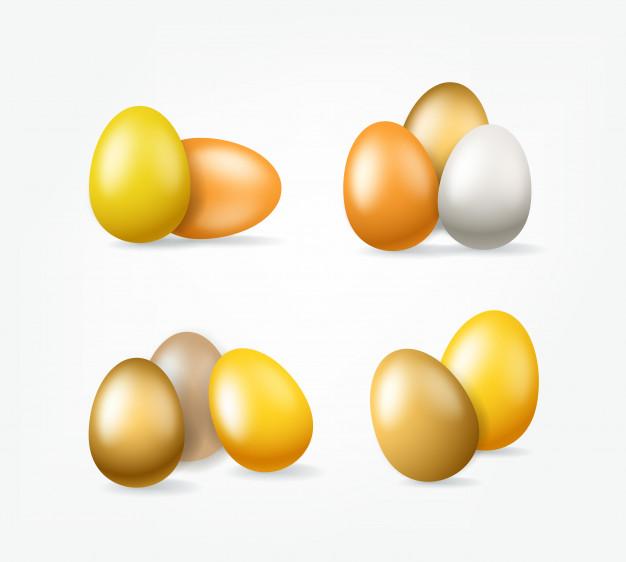 Pascua oro huevos clipart aislado.