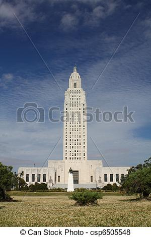 Pictures of The Louisiana State Capital building and Huey Long.