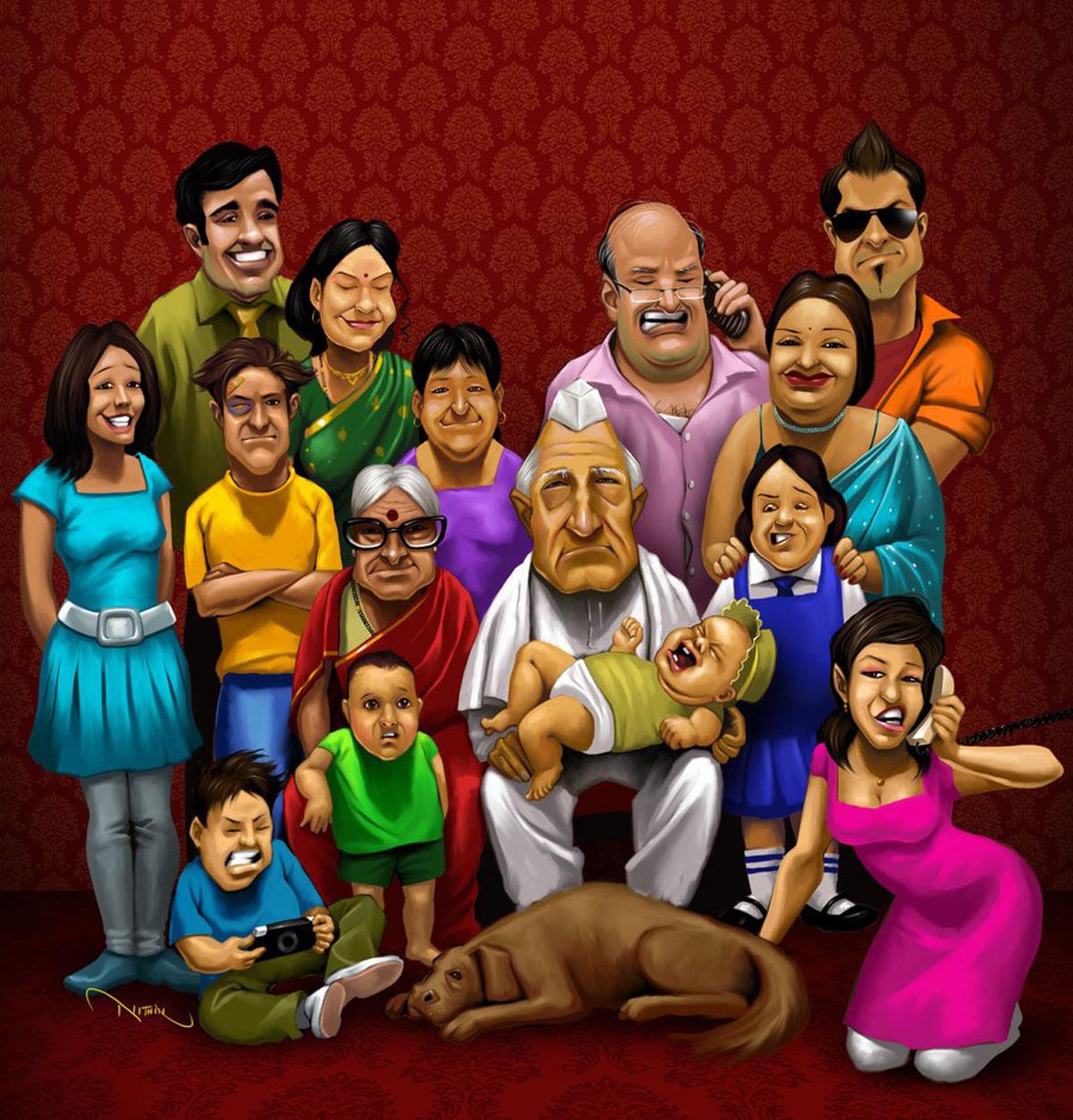 Hindu undivided family clipart.