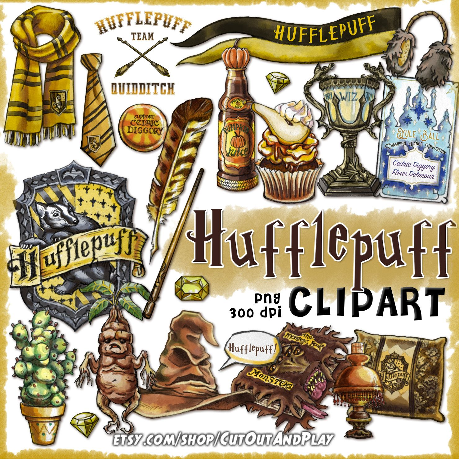 Hufflepuff clipart, Harry Potter clipart, Harry potter party, props.