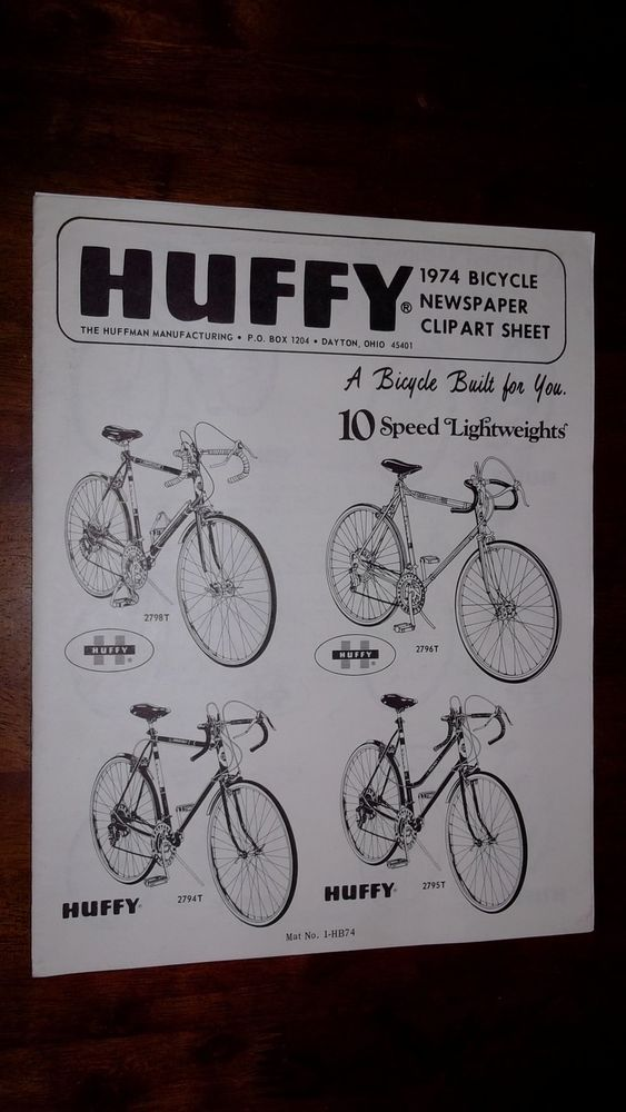 1974 Huffy Bicycle Newspaper Clip Art Sheet With Order Form.