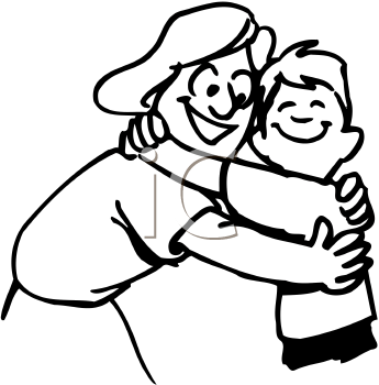 Hugs Black And White Clipart.