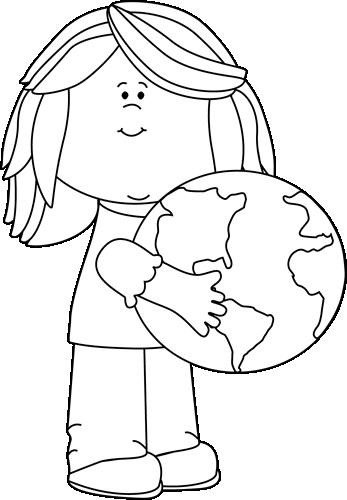 Black and White Girl Hugging Earth Clip Art.