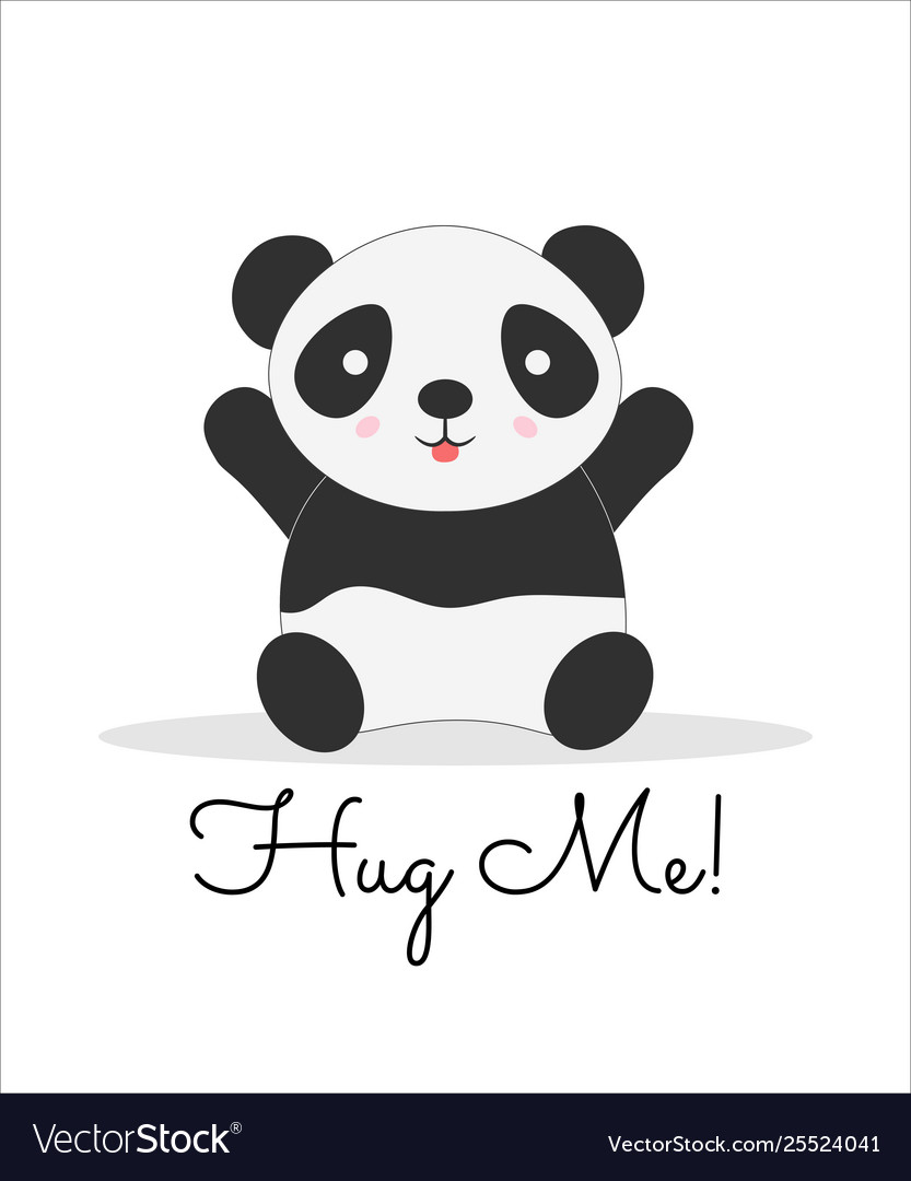Hug me lettering cartoon color postcard.