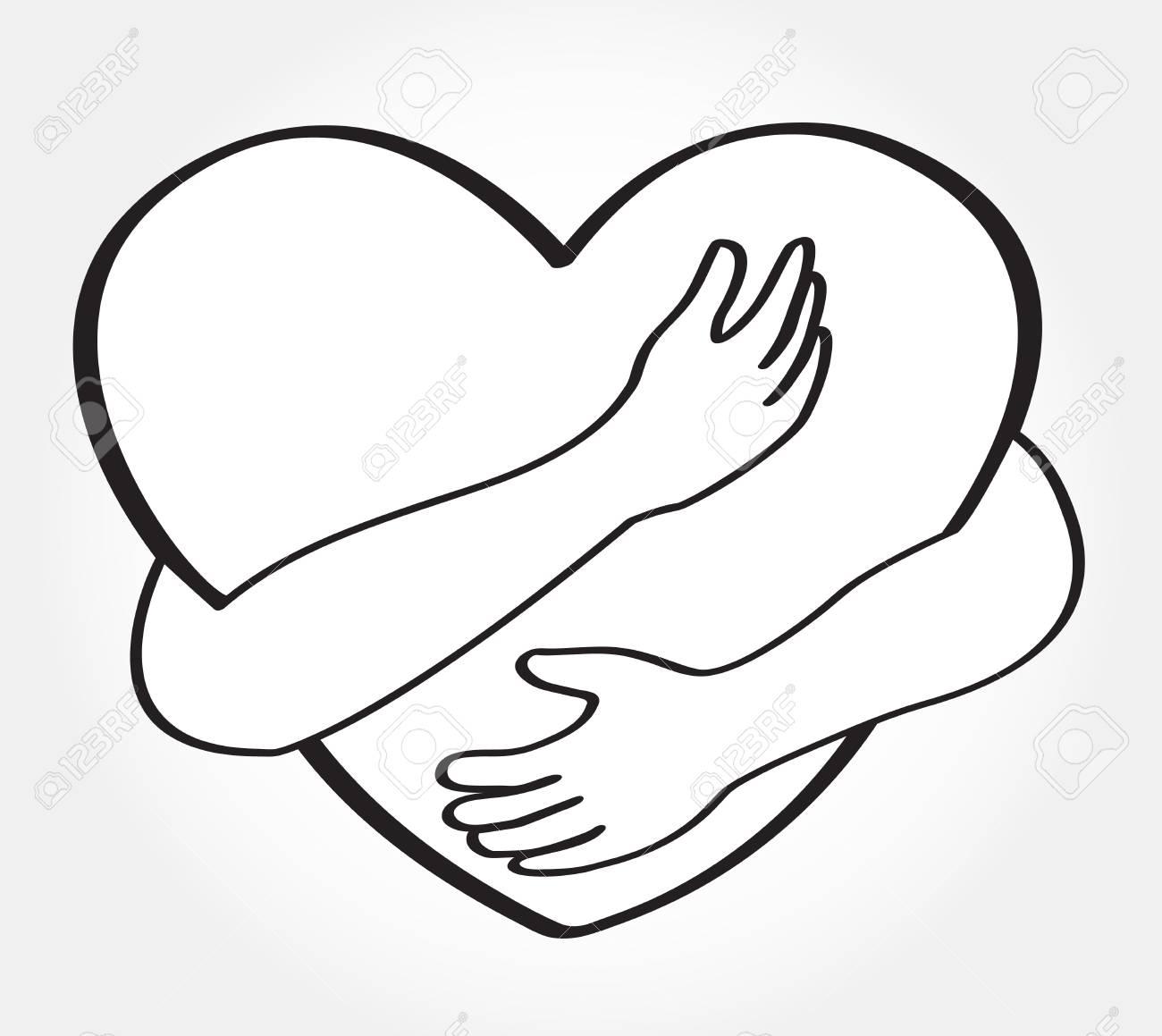 Hugging heart vector , hug yourself , love yourself.