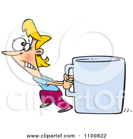 Clipart Woman Pulling A Huge Coffee Cup.