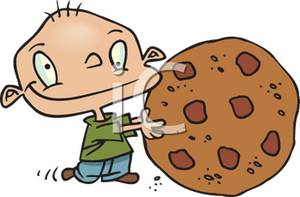 Clipart Picture of Small Boy With a Huge Cookie.