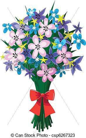 Vectors of Huge bouquet of spring flowers with red bow.