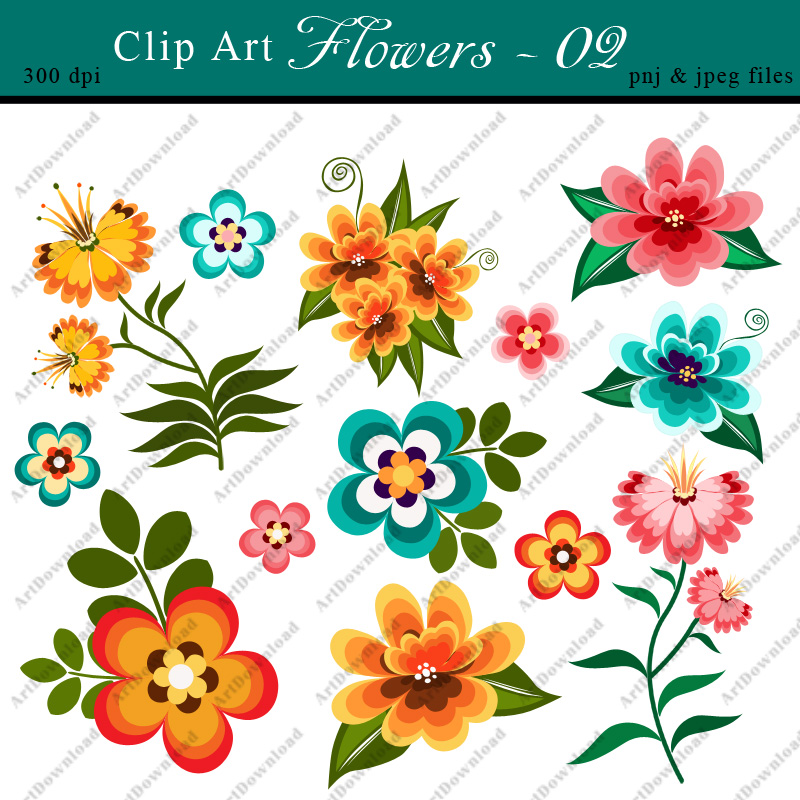 Digital Clip Art Flowers.