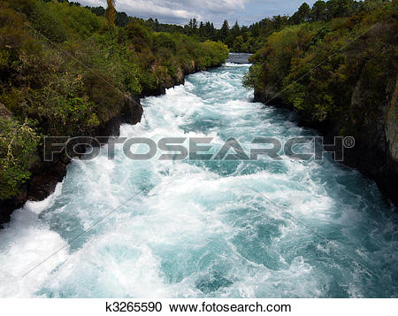 Stock Photography of Huka Falls Rapids New Zealand k3265590.