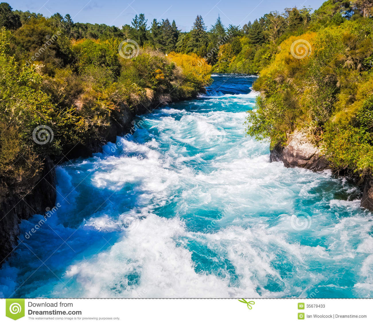 Waikato River At Huka Falls Royalty Free Stock Images.