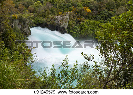 Stock Photograph of New Zealand, Waikato, Taupo. The Huka Falls.