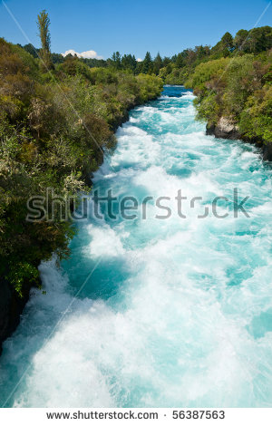 Narrow Canyon Huka Falls On Waikato Stock Photo 65326408.