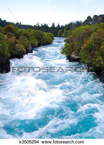 Stock Photo of Looking Upstream at the Waikato River in the narrow.