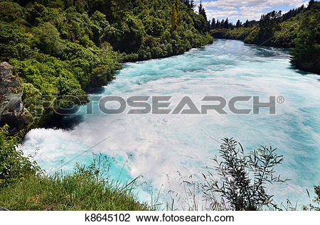 Stock Photo of Huka Falls New Zealand k8645102.