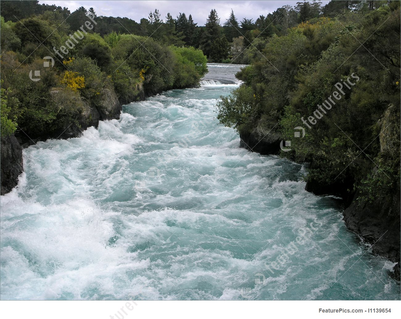 White Water Huka Falls New Zealand Stock Photo I1139654 at FeaturePics.