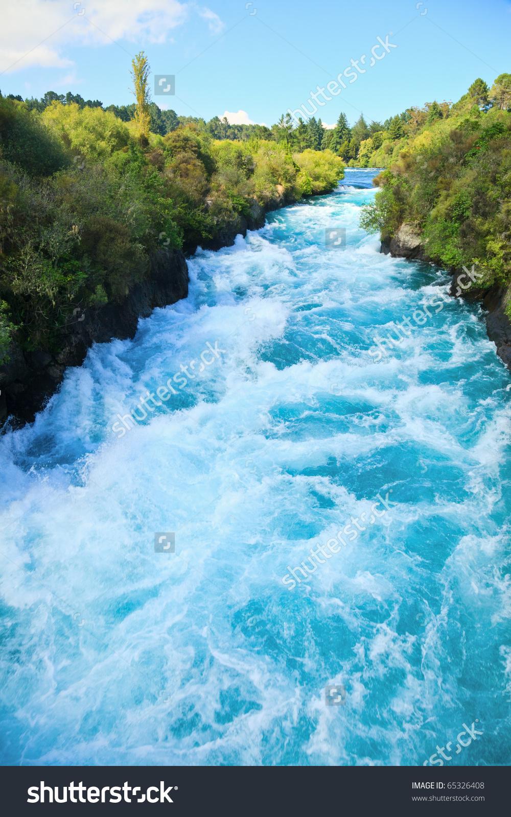 Narrow Canyon Huka Falls On Waikato Stock Photo 65326408.