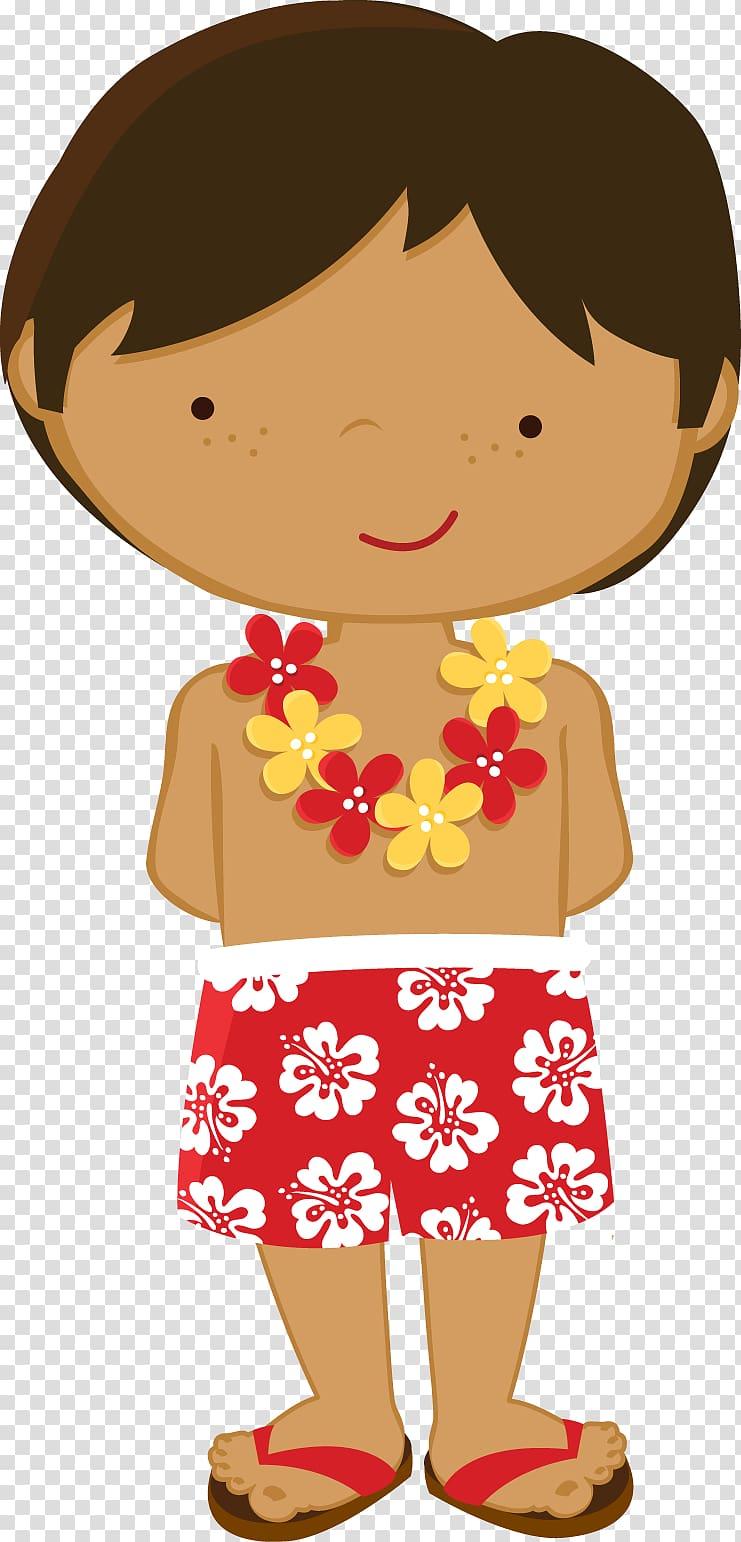 Boy with garland animated illustration, Hawaii Luau Hula , boy.