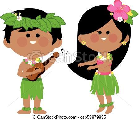 Hawaiian children playing music and hula dancing. Vector illustration.