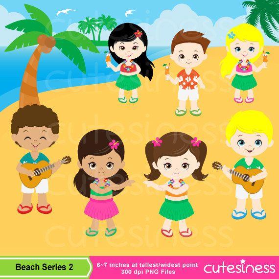 Luau Party Clipart Cute Hula Girl & Boy clipart Aloha.