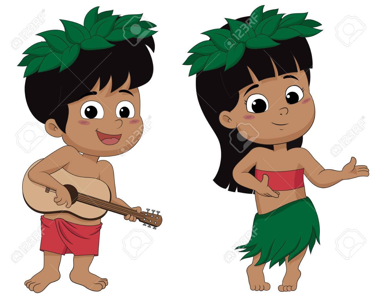 Hawaiian boy playing ukelele and girl hula dancing.vector and...