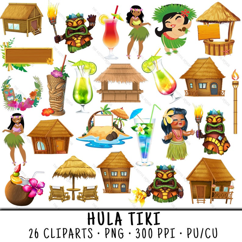 Hula Clipart, Tiki Bar Clipart, Tiki Hut Clipart, Hula Clip Art, Tiki Bar  Clip Art, Tiki Hut Clip Art, Hula Dancer PNG, Tiki Bar PNG.