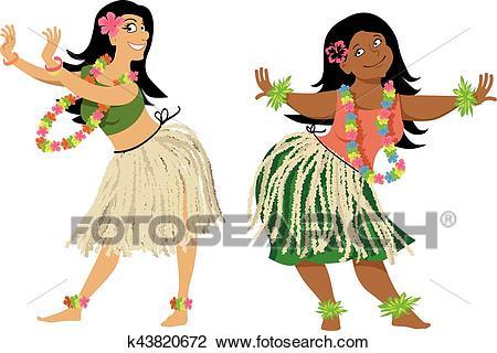 Hula dance lesson Clipart.