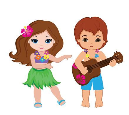 Hula Dancing Boy And Girl Clipart.