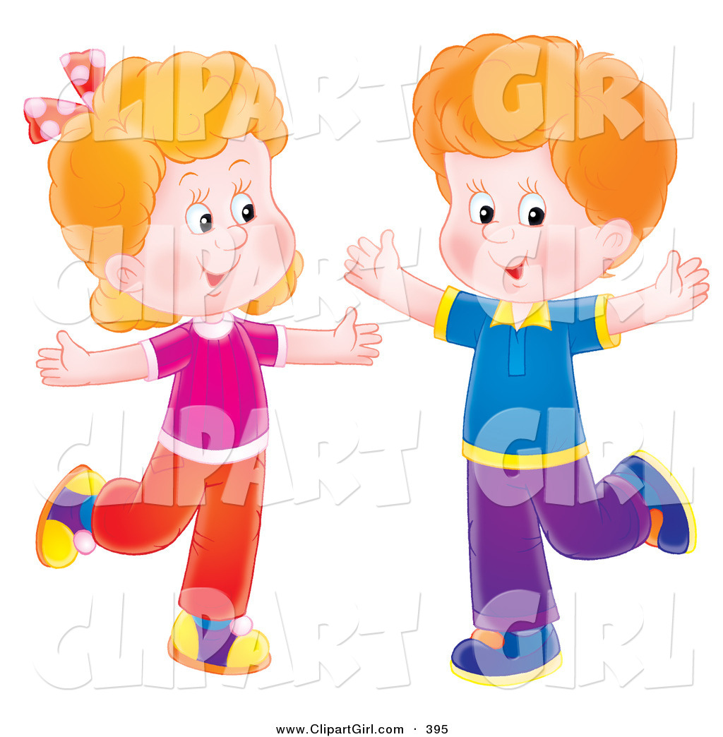 Shadow Boy And Girl Dancing Clipart.